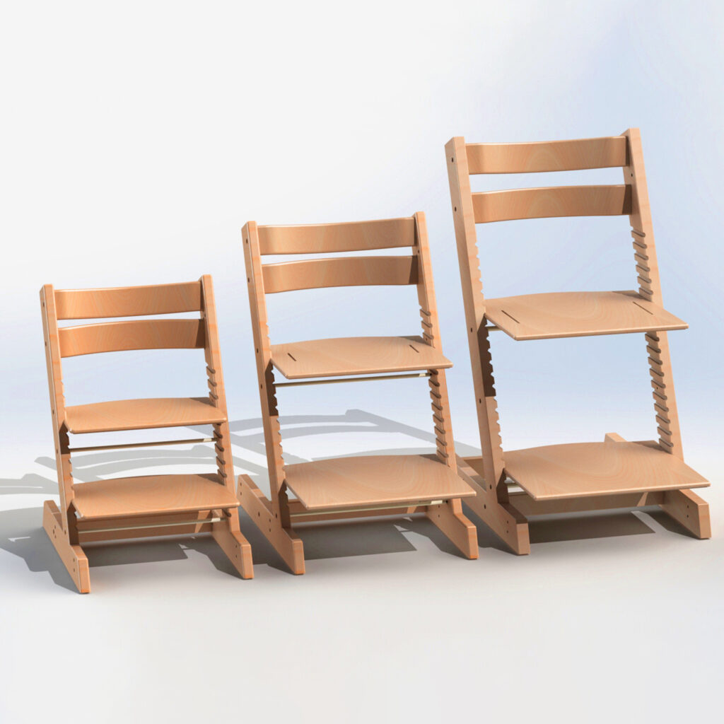 3 sizes of paediatric high chair